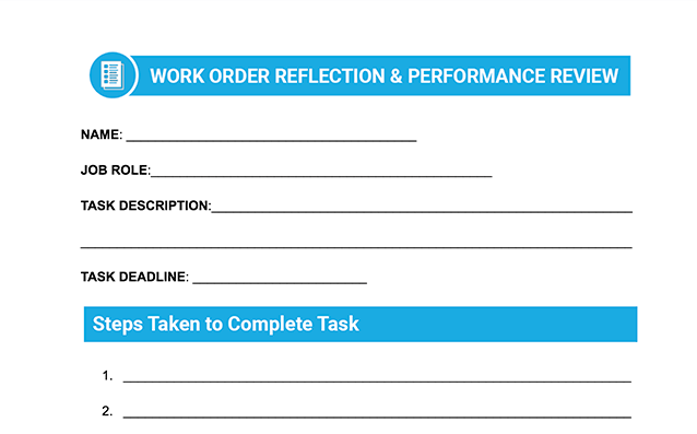 Digitability Daily Work Order Reflection Form template