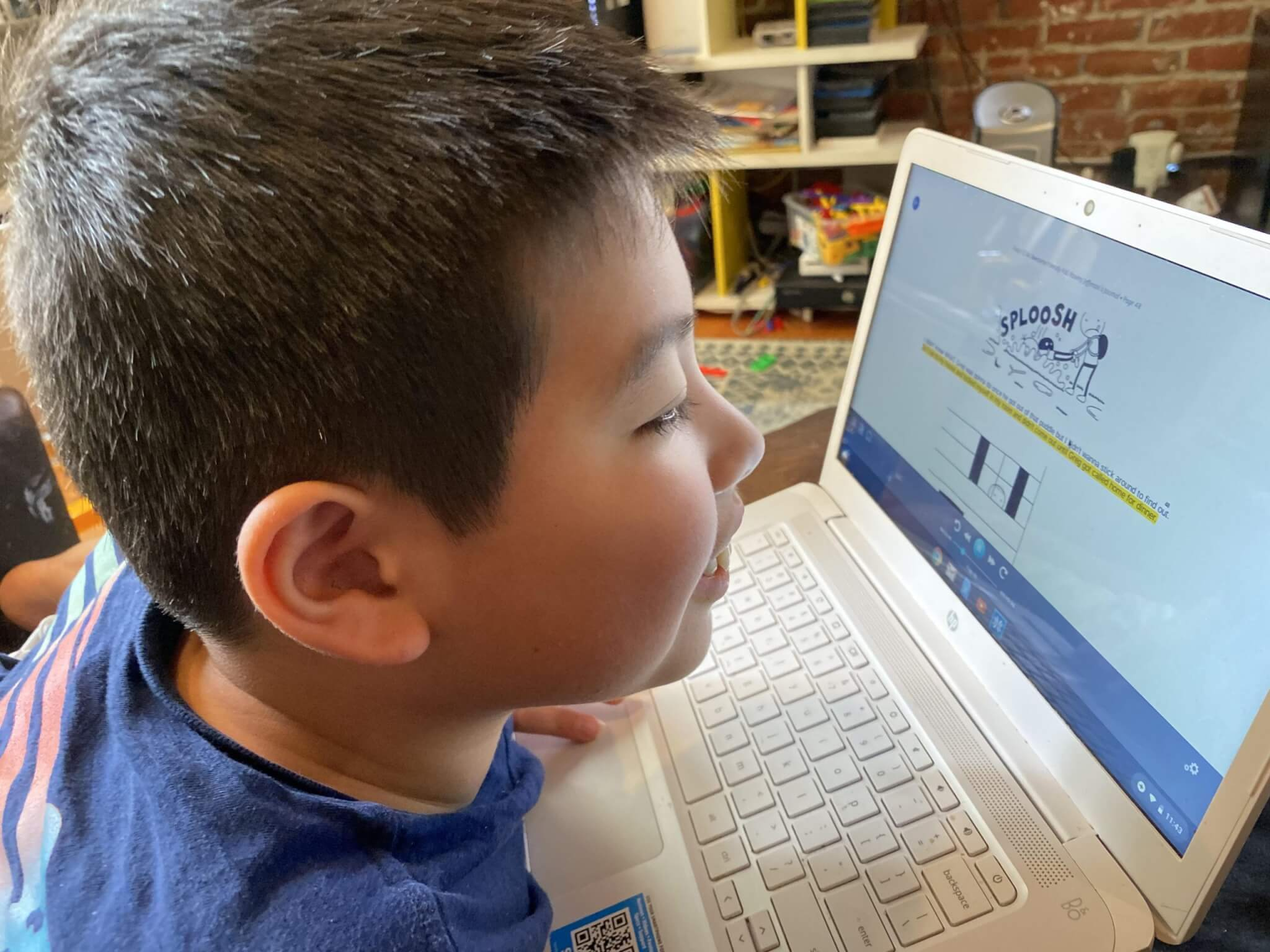 Anna Perng's 9-year-old son, Sam, who has autism, completes schoolwork using a website that offers speech-to-text assistance. Sam attends a New Jersey private school geared toward children with special needs. (Photo courtesy Anna Perng)